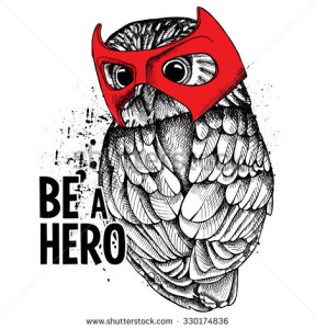 stock-vector-the-poster-with-the-portrait-of-the-owl-wearing-the-mask-of-hero-vector-illustration-330174836